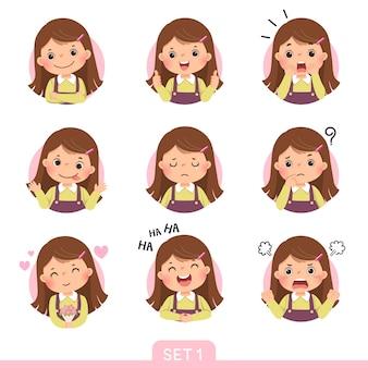 Cartoon-set eines kleinen mädchens in verschiedenen haltungen mit verschiedenen emotionen. satz 1 von 3.