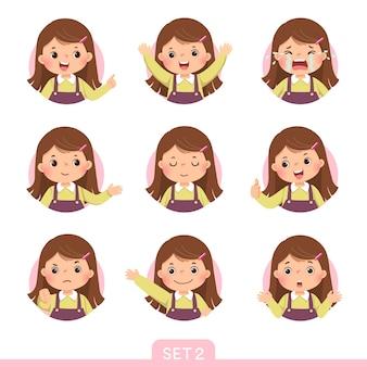 Cartoon-set eines kleinen mädchens in verschiedenen haltungen mit verschiedenen emotionen. satz 2 von 3.