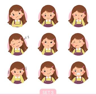 Cartoon-set eines kleinen mädchens in verschiedenen haltungen mit verschiedenen emotionen. set 3 von 3.