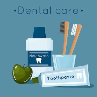 Cartoon-set grundlegender zahnärztlicher hilfsmittel für die mund- und zahnpflege