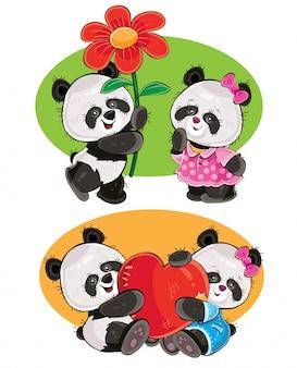 Cartoon-set mit ein paar panda-bären in der liebe
