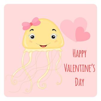 Cartoon-set mit tieren und schriftzug zum valentinstag. aufkleber in den quallen.