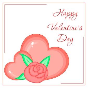 Cartoon-set mit tieren und schriftzug zum valentinstag. aufkleber in der blume.