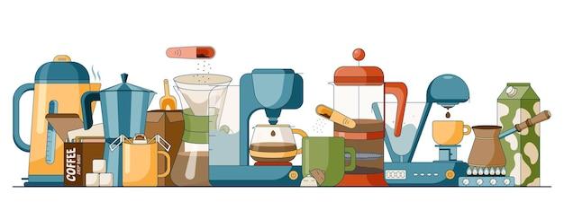 Cartoon-set mit verschiedenen brühmethoden von kaffee in einem flachen stil