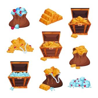 Cartoon-set mit vollen taschen und holzkisten mit piratenschätzen, haufen goldener balken, münzen, diamanten und rubinen. flaches design