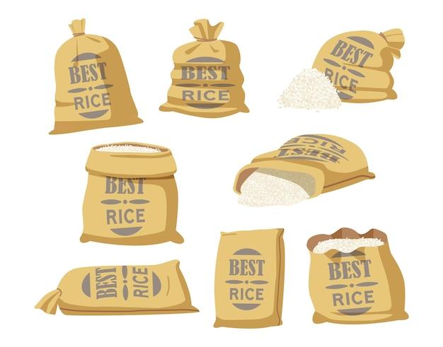 Cartoon-set säcke mit bester reis-typografie. textilsäcke mit landwirtschaftlicher produktion in braunen ballen, geschlossenen und offenen säcken mit weißen körnern im inneren isoliert auf weißem hintergrund. vektorillustration