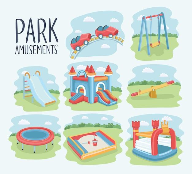 Cartoon-set von elementen des kinderspielplatzes Premium Vektoren
