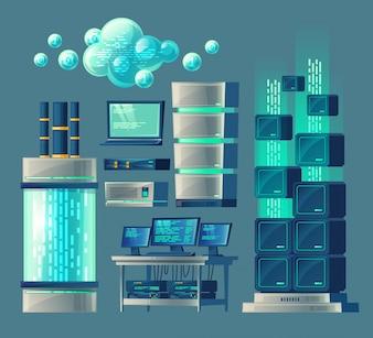 Cartoon-Set von Geräten und Geräten für die Datenverarbeitung und -speicherung, Datenbank