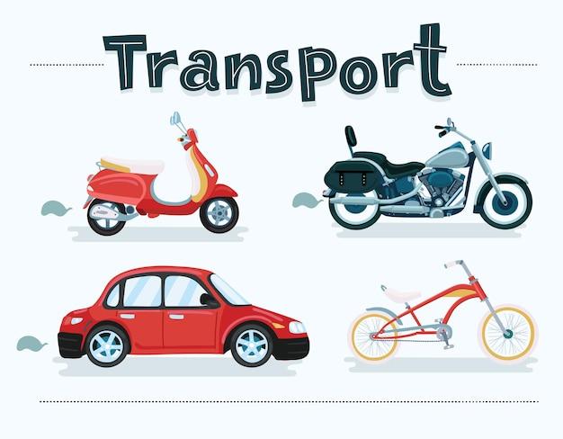 Cartoon-set von verschiedenen transportfahrzeugen fahrräder roller auto motorrad roller motorrad