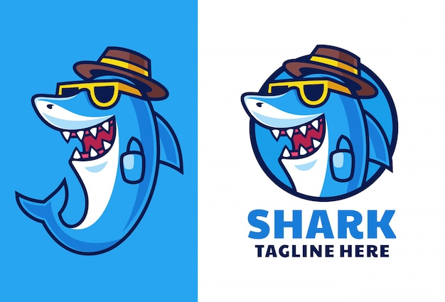 Cartoon shark maskottchen logo design