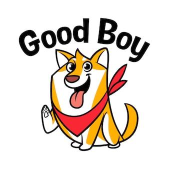 Cartoon shiba inu charakter maskottchen logo