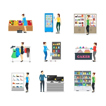 Cartoon shopping peoples on store süßigkeiten, kleidung, lebensmittel, kleidung, elektronik, schuhe und apotheke. vektor-illustration