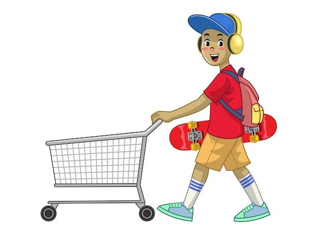 Cartoon-skaterjunge, der den einkaufswagen schiebt