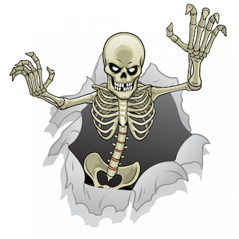 Cartoon-skelettcharakter heraus vom defekten papierloch