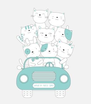 Cartoon skizzieren die niedlichen tierbabys der katze, die ein auto fahren. handgezeichneter stil