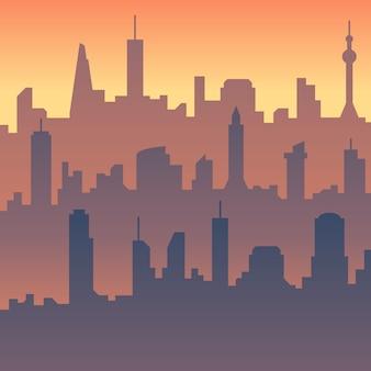 Cartoon skyline silhouette der stadt
