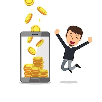 Cartoon smartphone helfen mann, geld zu verdienen