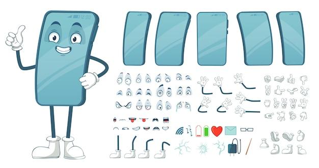 Cartoon smartphone maskottchen.