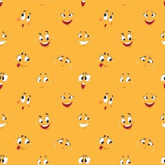 Cartoon-smiley-muster. comicausdrücke des lustigen verrückten lächelnkarikaturspaßes der gesichter glücklichen netten cartoons stellen nahtloses gegenüber