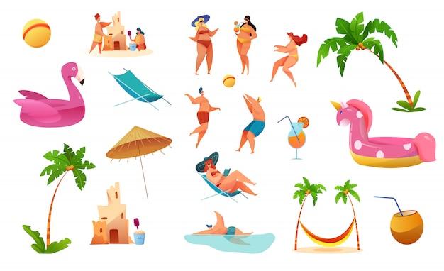 Cartoon sommer strand urlaub zeichen und symbole gesetzt. junger mann, frau in der lounge, spielen volleyball, bauen sandburg, rosa einhorn flamingo aufblasbaren ring, palme, sonnenschirm und cocktails