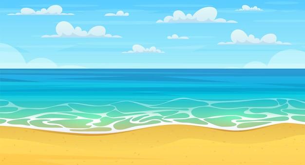 Cartoon-sommerstrand. paradiesnatururlaub, meer oder meeresküste.