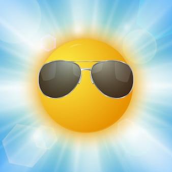 Cartoon sonne mit sonnenbrille