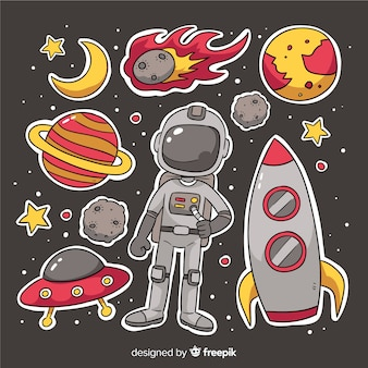 Cartoon space sticker sammlungssatz