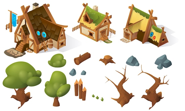 Cartoon-spiel isometrische elemente haus bäume steine