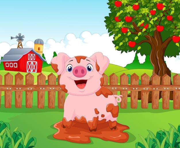 Cartoon spiel schweinegülle n der farm