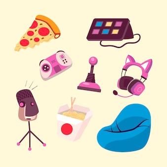 Cartoon-spiel-streamer-elementsammlung