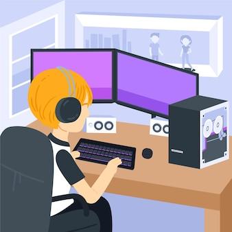 Cartoon-spielerraumillustration