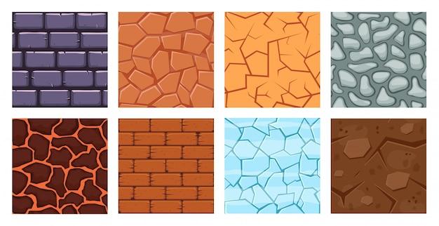 Cartoon-spielplatz. textur spiel ziegel oberfläche, eis, ziegel sandwüste und schmutz bodenschichten für spiel level illustration set. karikaturoberflächenmuster, felsen und ziegel, sandiges niveau