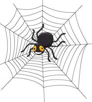 Cartoon spinne auf dem spinnennetz