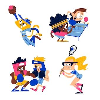 Cartoon-sport-aufkleber-sammlung