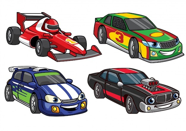 Cartoon-sport-rennwagen-set