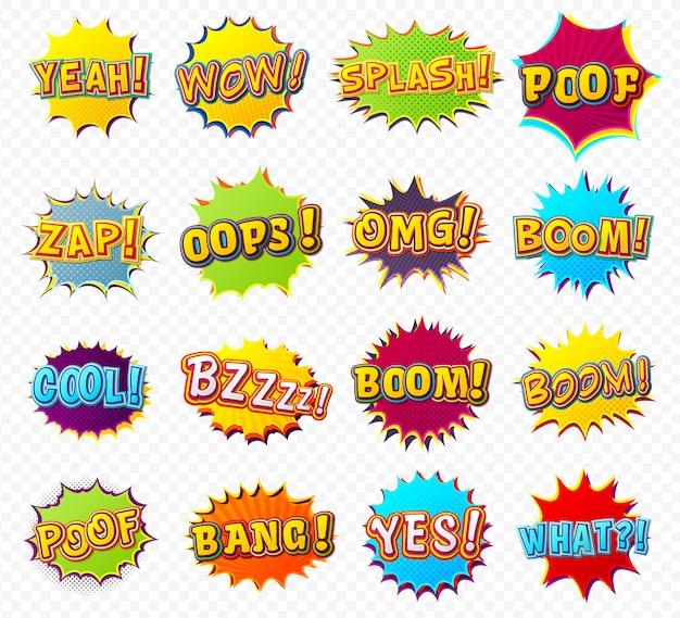 Cartoon-sprechblasen und zitate in comics und pop-art-stil