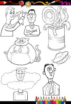 Cartoon sprüche für malbuch gesetzt