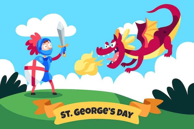 Cartoon st. george's day illustration mit drachen und ritter
