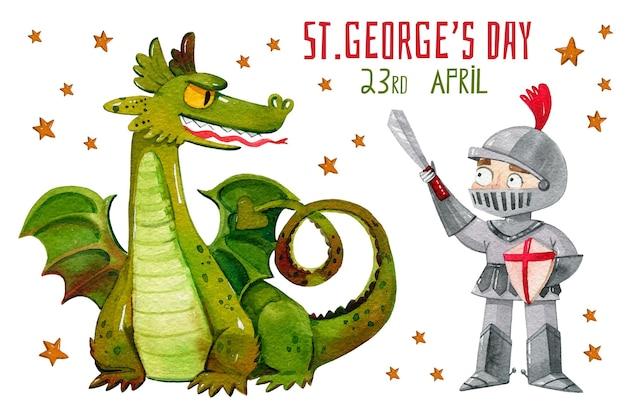 Cartoon st. george's day illustration
