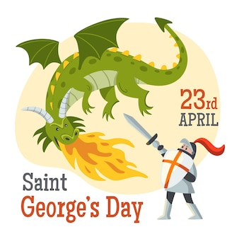Cartoon st. george's day illustration
