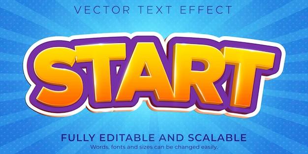Cartoon-start-texteffekt, bearbeitbarer comic und lustiger textstil
