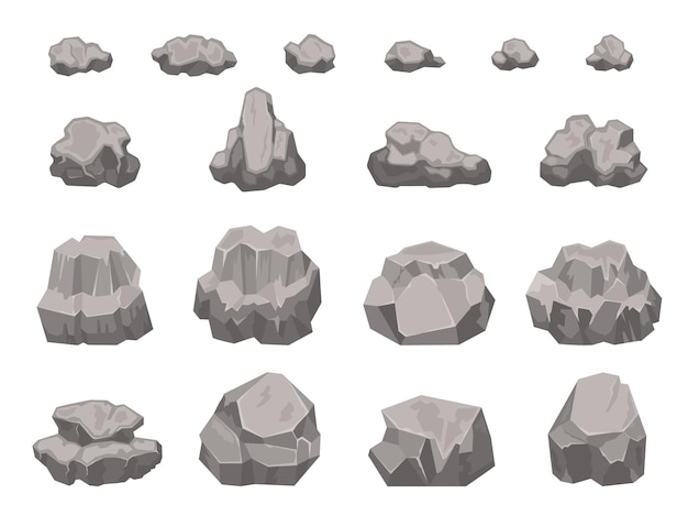 Cartoon-steine, felsen, felsbrocken, schutt- und kiesstücke. natürliches baumaterial aus granit. felsschutt, landschaftselemente vektorsatz. bergblock, kiesteil isoliert auf weiß
