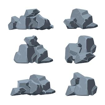 Cartoon steine gesetzt. steinfelsen, felsbrockenstein, natursteinelementillustration