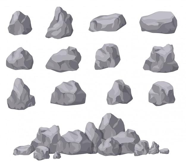 Cartoon steine. isometrischer satz aus steinstein. granitblöcke, natürliche bausteinformen. 3d-dekoration isolierte vektorsammlung