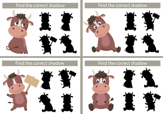 Cartoon-stier. finden sie den richtigen schatten. lernspiel für kinder. vektorillustration, karikaturart.