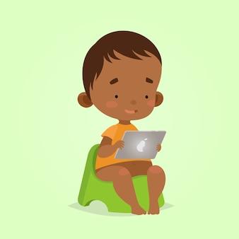 Cartoon-stil. moderne technologien für kinder. babykleinkindjunge mit tablette auf einem töpfchen.