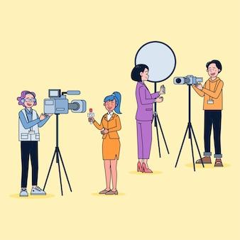 Cartoon-stil. satz fernsehvideoman und journalist, die die nachrichten in zeichentrickfigur, differenzaktion isolierte flache illustration berichten.
