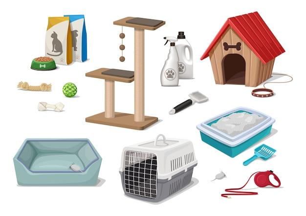 Cartoon-stil tierhandlung supermarkt hund und katze wurf haus spielen baum spielzeug pflege werkzeuge lebensmittelpaket