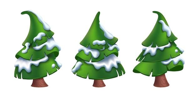 Cartoon-stil weihnachtsbäume mit schnee isoliert auf weiß