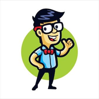 Cartoon stolzer nerd